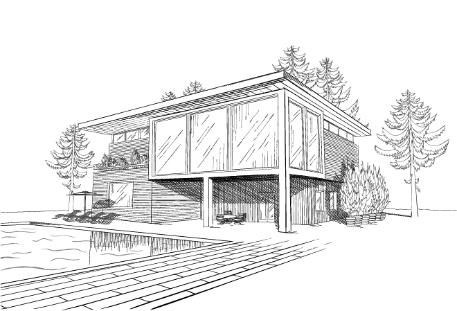 croquis maison et piscine